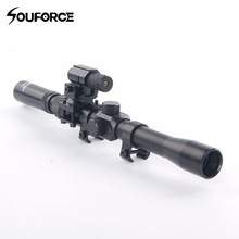 New Tactical 3-7X20 Air Gun Rifle Optics Cross Reticle Scope+20mm Rail Mounts +Red Dot Laser Sight For Hunting Airsoft Supply цена