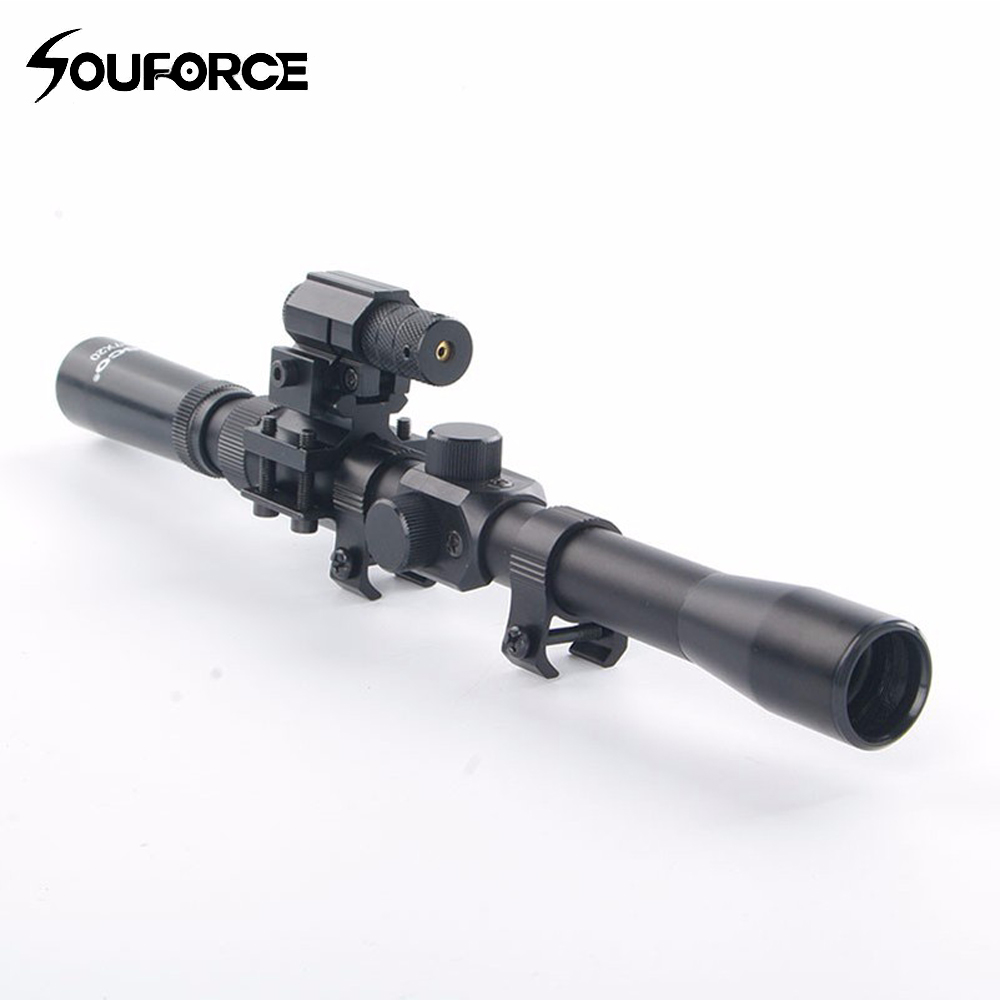 New Tactical 3-7X20 Air Gun Rifle Optics Cross Reticle Scope+20mm Rail Mounts +Red Dot Laser Sight For Hunting Airsoft Supply