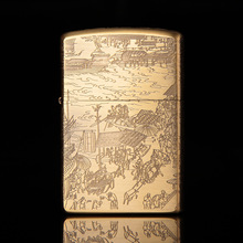 Chinese Painting Chief Gas Cigarette Lighter Cigarettes Kerosene Flint Petrol Vintage Gasoline Oil Refillable