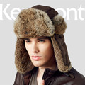 Kenmont Men Male Winter Outdoor Natural Rabbit Fur Thicken Russia Trapper Aviator Bomber Hat Ski Cap 2314