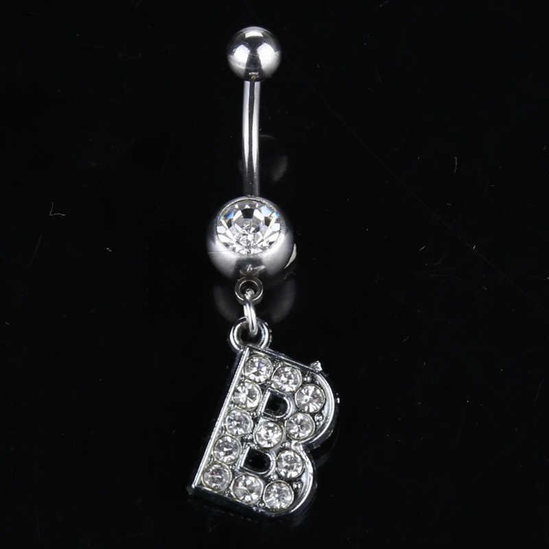 26 букв А до М стиль очаровательный нательный Кристальный пирсинг горный хрусталь инкрустированные пупка кольцо из нержавеющей стали ювелирные изделия