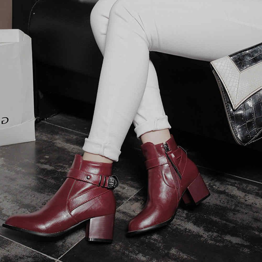 KarinLuna marka yeni büyük boy 34-46 kare topuklu dropship ayak bileği çizmeler kadın ayakkabıları eklemek kürk kış sıcak patik kadın ayakkabı çizme