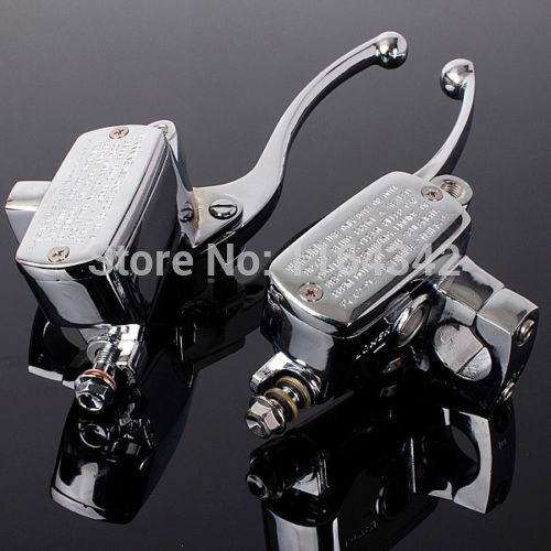 a Pair 1 25mm Universal Motorcycle Handlebar Brake Master Cylinder Clutch Levers For Harley Honda Suzuki Kawasaki Chrome for harley yamaha kawasaki honda 1 pair universal motorcycle saddle bags pu leather bag side outdoor tool bags storage undefined
