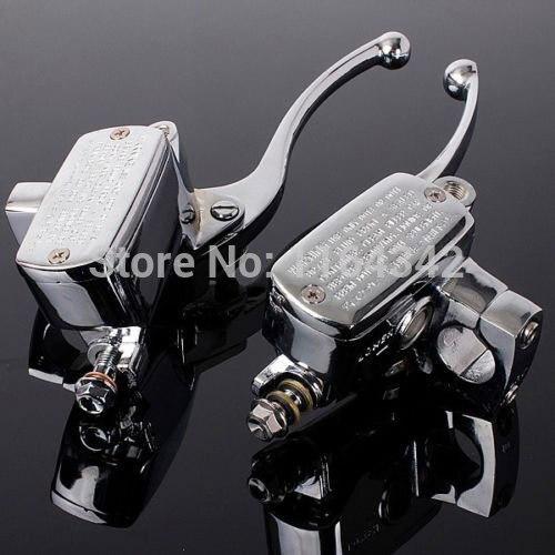 a Pair 1 25mm Universal Motorcycle Handlebar Brake Master Cylinder Clutch Levers For Harley Honda Suzuki Kawasaki Chrome
