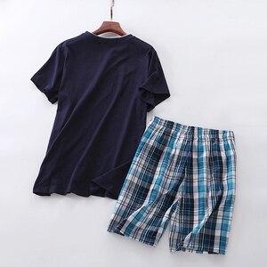 Image 4 - Sommer 100% baumwolle kurze pyjama sets männer nachtwäsche sexy V ausschnitt homewear kurzarm männlichen pijamas hombre pyjamas herren nachtwäsche