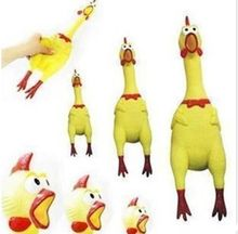 Small Size Yellow mini Screaming Rubber Chicken Pet Dog love Toy Squeak Squeaker Chew Gift 17CM Free Shipping