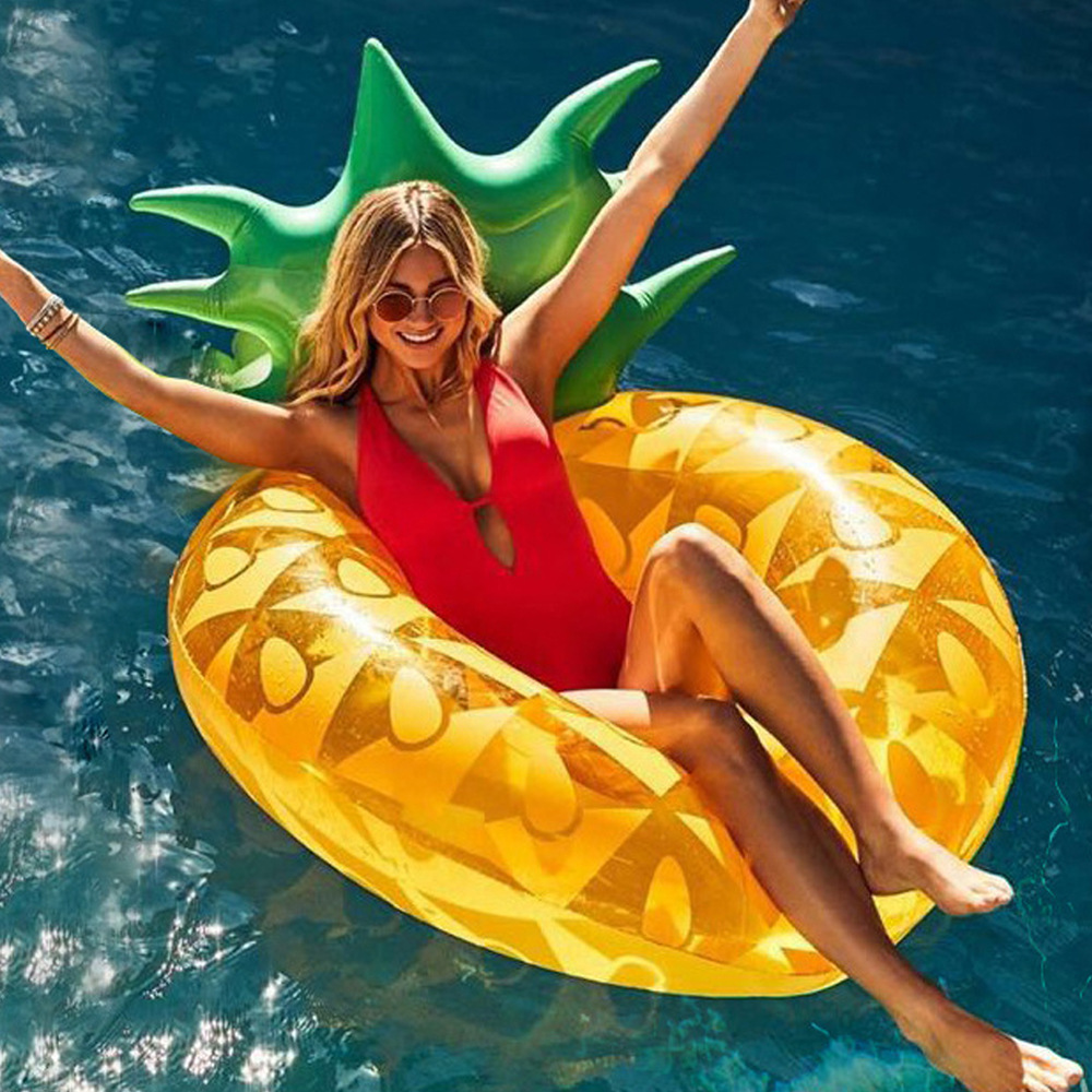 Giant Inflatable Pineapple Pool Float Summer Swimming Ring Pool Float Inner Tube Outdoor Beach Party Play Pool Water Fun Toy For