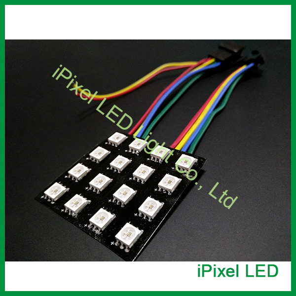Mini flexible display led dot matrix 4x4 com SK9822