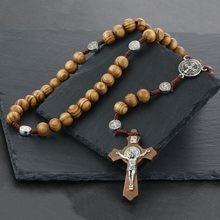 6e9b27058d6b Ronda de Saint Benedict medalla de madera antiguo Rosario collares Cruz  colgante para las mujeres Jesús joyas Madre Regalos NC08.