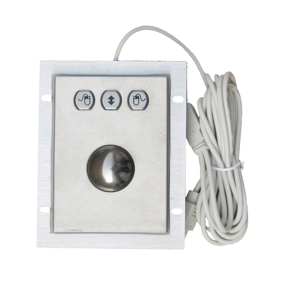 Panel mount 38mm Metal Trackball Industrial Pointing Device with 3 mouse hexagon key button shape left