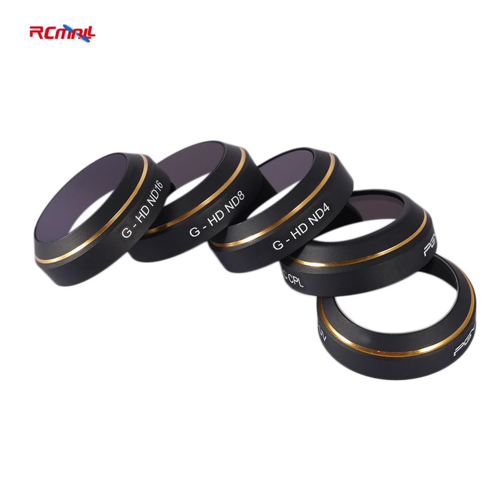 RCmall PGYTECH Lens Filters for DJI MAVIC Pro Drone G-HD-MCUV ND4 8 16 CPL HD Filter 5pcs/set For RC Quadcopter Camera DR1831 pgytech explosion proof box for dji mavic pro suitcase travel transport portable storage case bag for dji mavic pro safebox