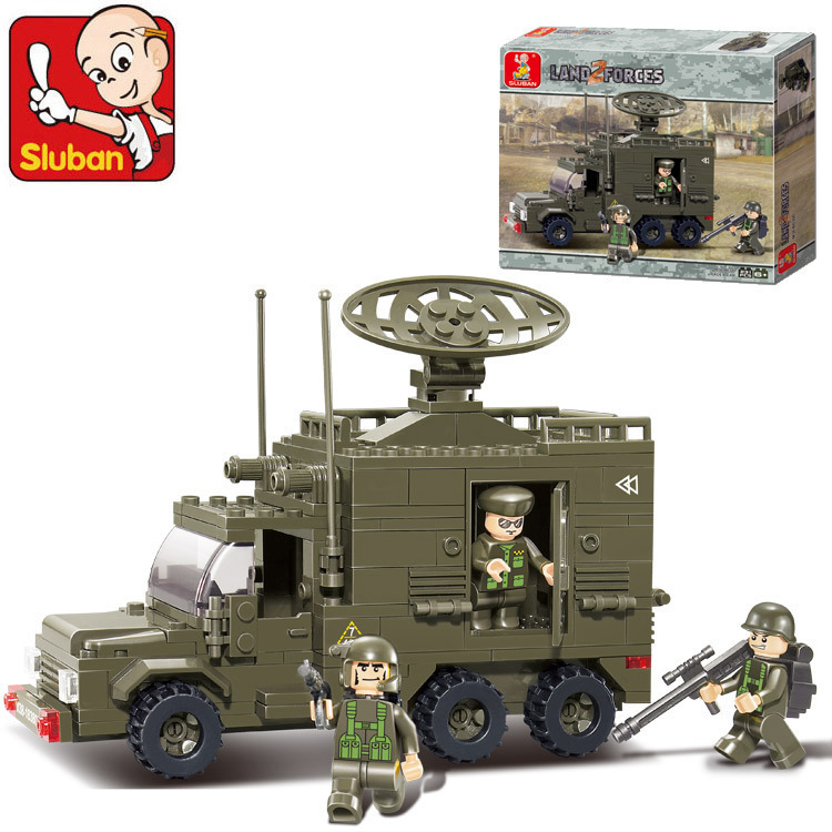 Sluban Model building kits compatible with lego city Radar Van Military 957 3D blocks Educational toys hobbies for children