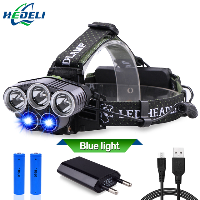 Синий свет белый свет Рыбалка USB 5 светодиодные фары фара фар CREE XM L T6 20000 люмен Светодиодный Фонарь налобный фонарь лампа