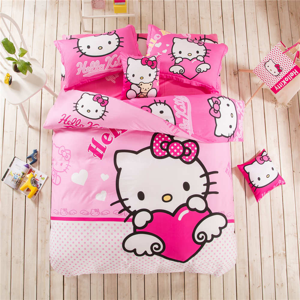 Kids bed spreads - Hello Kitty Angle Polka Dot Bedding Set Bedspreads Girls Kids Bed Duvet Covers Cotton 500tc Twin