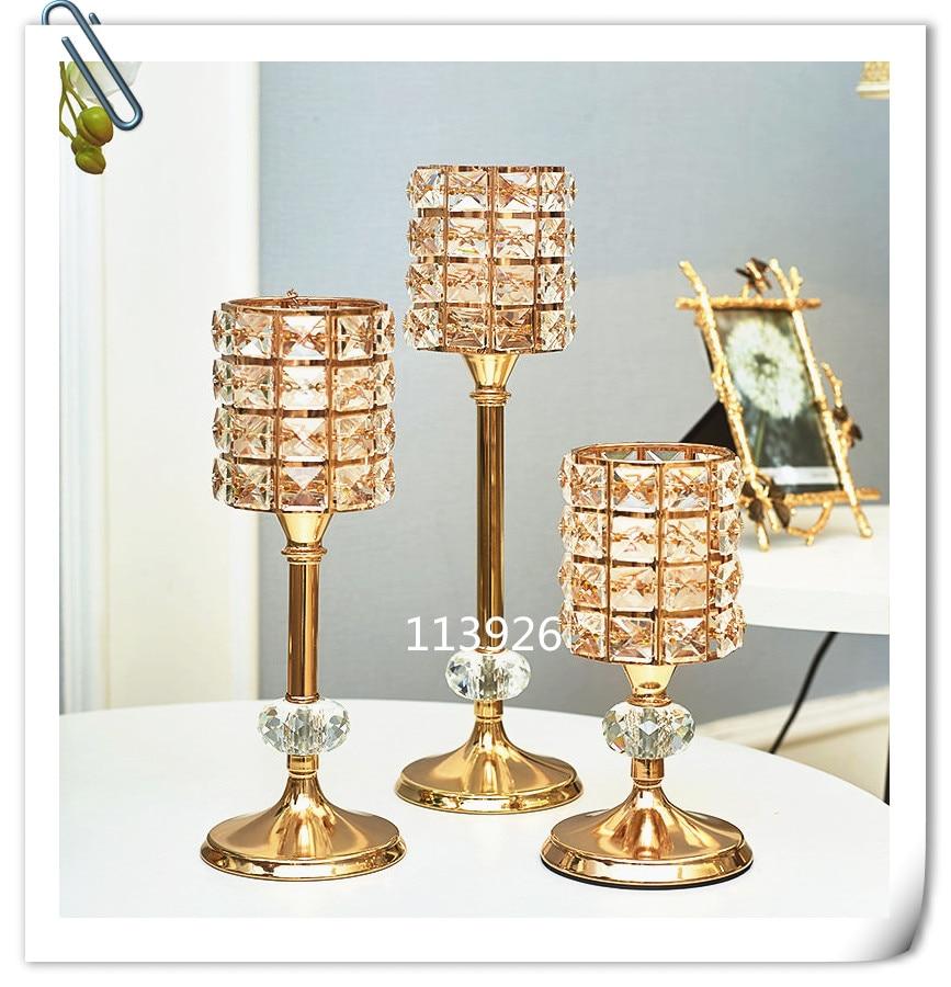 Crystal Candlestick Stand Wedding Home Candle Holder Candleholder Golden M