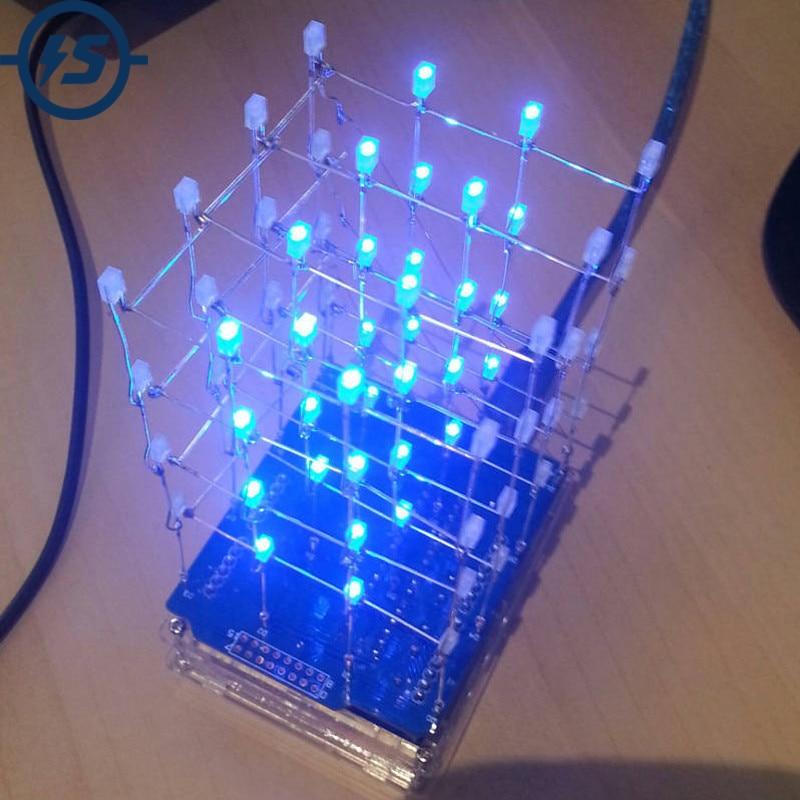 4X4X4 синий светодиодный светильник Cube Kit 3D светодиодный DIY Kit электронный набор для Arduino Smart Electronics СВЕТОДИОДНЫЙ комплект Cube