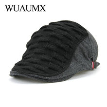 Wuaumx Autumn Winter Beret Hats For Men Women knitting Berets Peaked Cap Leisure Warmer Knitted Casquette Boina Masculina