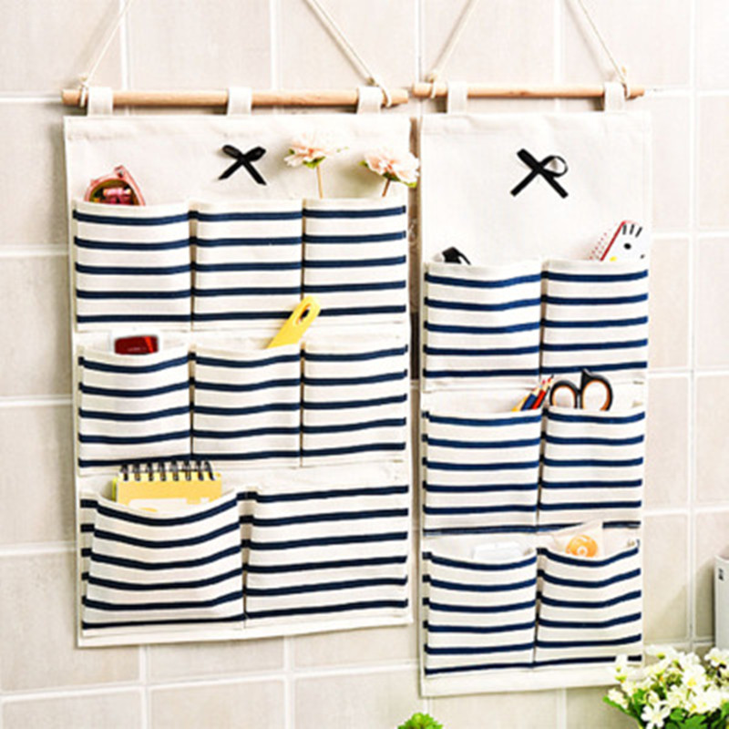 New Multi-function Storage Bag Wall-mounted Cotton And Linen Hanging Bag Kitchen Bathroom Storage Finishing Home Decor