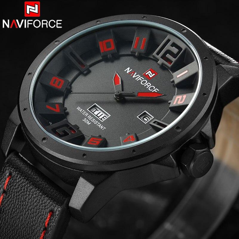 NAVIFORCE Luxury Brand Men's Sports Quartz Watches Men Analog Date Clock Man Leather Strap Military Wristwatch Relogio Masculino naviforce nf9057 men quartz watch analog wristwatch date watches pu strap