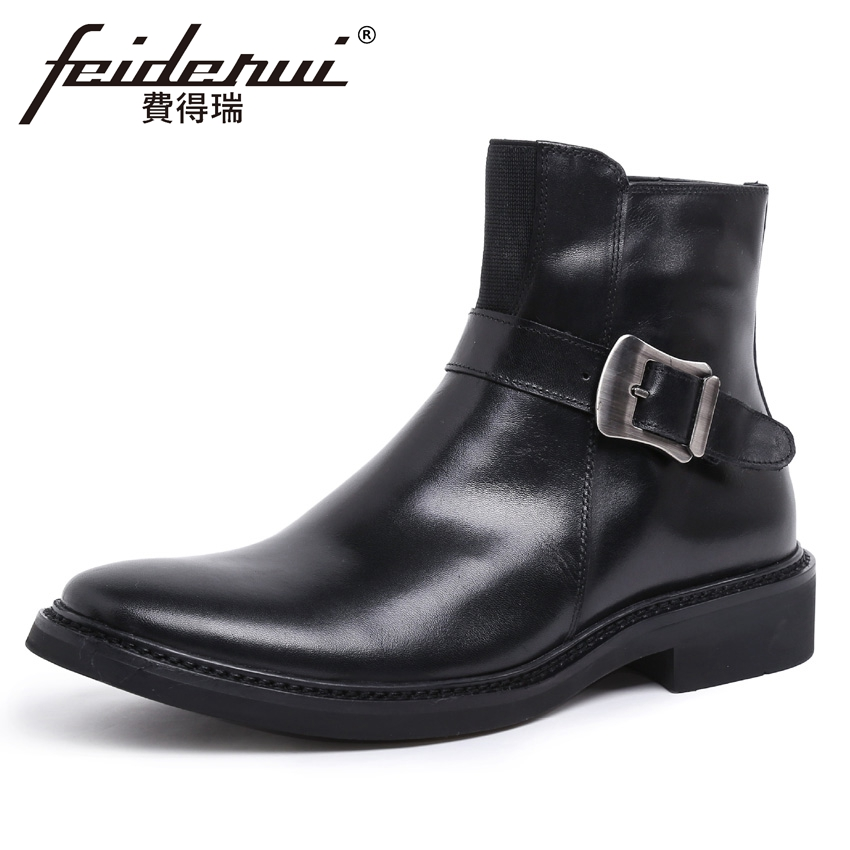 British Style Genuine Leather Men's Platform Martin Ankle Boots Round Toe Handmade Cowboy Outdoor Formal Dress Man Shoes YMX447 fit 60025