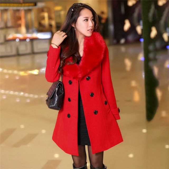 #Women Big Fur Collar #Jackets Winter Long Woolen Blend #Coats Outerwear Cotton Blend Jacket #fashion #boygrl