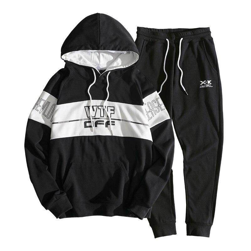 Capuche grey Pièce Sport Ensembles Costumes white Casual Survêtement Sweat Imprimé Printemps Pantalon Black 2018 À Masculins Hommes 2 De Veste 5wUCCx