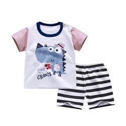 Брендовая летняя новая одежда для малышей комплект одежды для маленьких мальчиков и девочек, футболка + шорты, комплект одежды из 2 предмето...