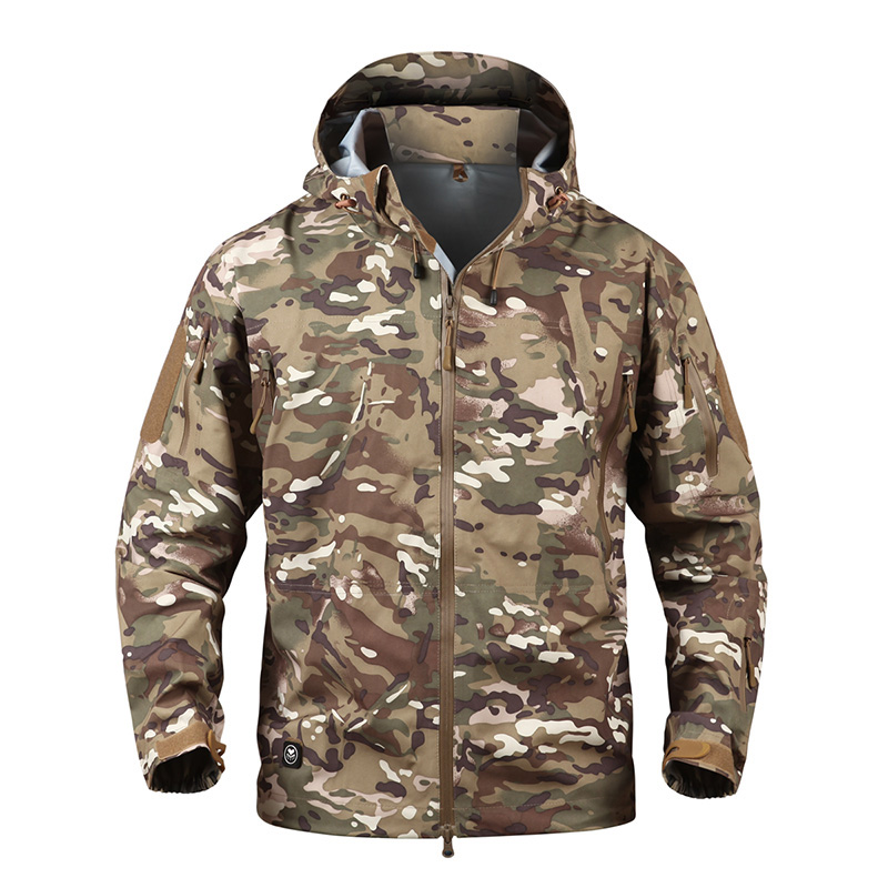 все цены на Military Tactical Jacket Men Hardshell Waterproof Army Clothing Camouflage Windbreakers Hooded Autumn Winter Outdoor Coat