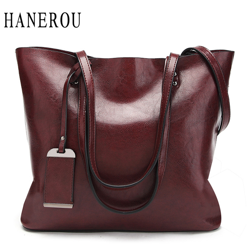 цена на Fashion Sequined Women Shoulder Bags Oil Wax Leather Large Capacity Tote Bag Casual Handbags Women Famous Brands 2018 Solid Sac
