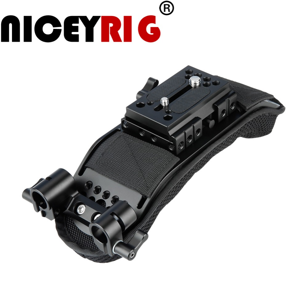 NICEYRIG Shoulder Rig Pad with Quick Release Manfrotto Rail 1 4 3 8 Screw 15mm Rod