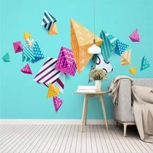 Custom wallpaper 3d modern minimalist geometric triangle mosaic TV background wall painting