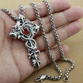 Dark Red CZ Stone Dragon Twine Pendant Solid 925 Sterling Silver Cool Men's Cross Sword Pendant 8X001