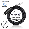 DBPOWER 2 MP USB Endoscope 15M/7M/5M 8.5MM 6LED Lens HD Inspection Mini Camer Borescope Snake Video Cam Night Vision With OTG