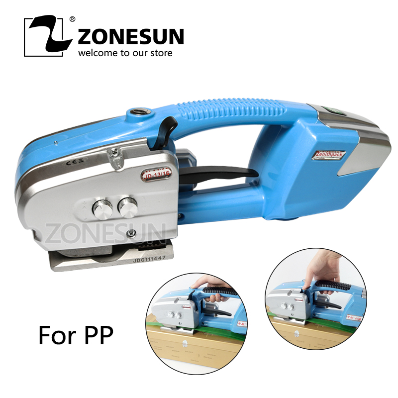 ZONESUN JD16 Handheld Battery Powered PP Plastic Welded Carton Strapper Electric Strapper Packing Machine For Paper Lumer