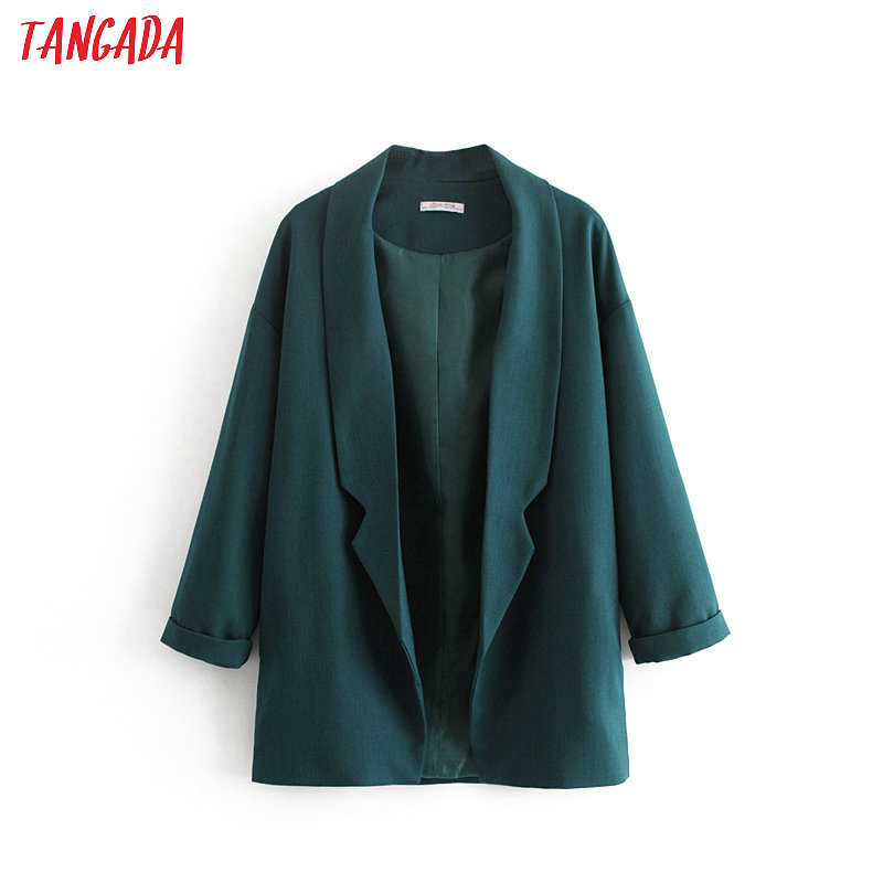 Tangada Women Dark Green Elegant Blazer Chic Lady Spring Blazer Long Sleeve Coat Female Woman Fashion Korea Outerwear Tops DA33