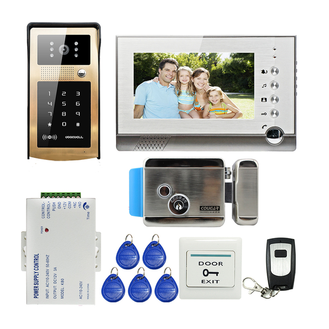 "FREE SHIPPING 7"" Record Monitor Video Door Phone Intercom Kit + Metal Outdoor RFID Keypad Unlock Doorbell Camera + Electric Lock"