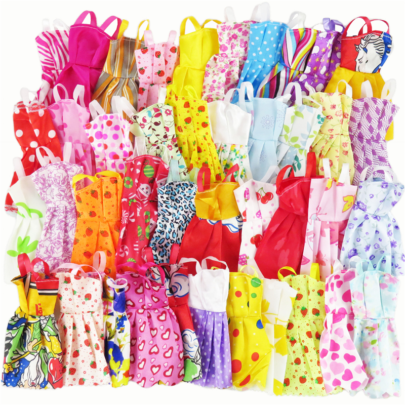 все цены на 10 Pcs Mix Sorts Beautiful Handmade Party Dress Fashion Clothes For Barbie Doll Best Gift Kids Toys