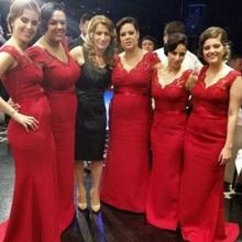 Hot Mermaid Country Red Bridesmaid Dresses Long 2016 Vestido Festa Casamento
