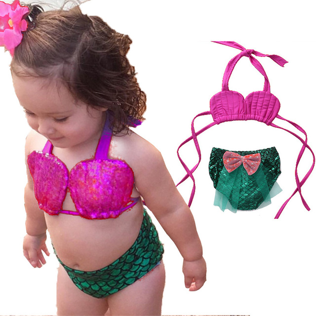 9271af94658 2017 Two-Piece Little Girl Mermaid Halter Mermaid Swimsuits Baby Girls  Bikini Suit Swimwear Bathing Swimming Costume Clothes