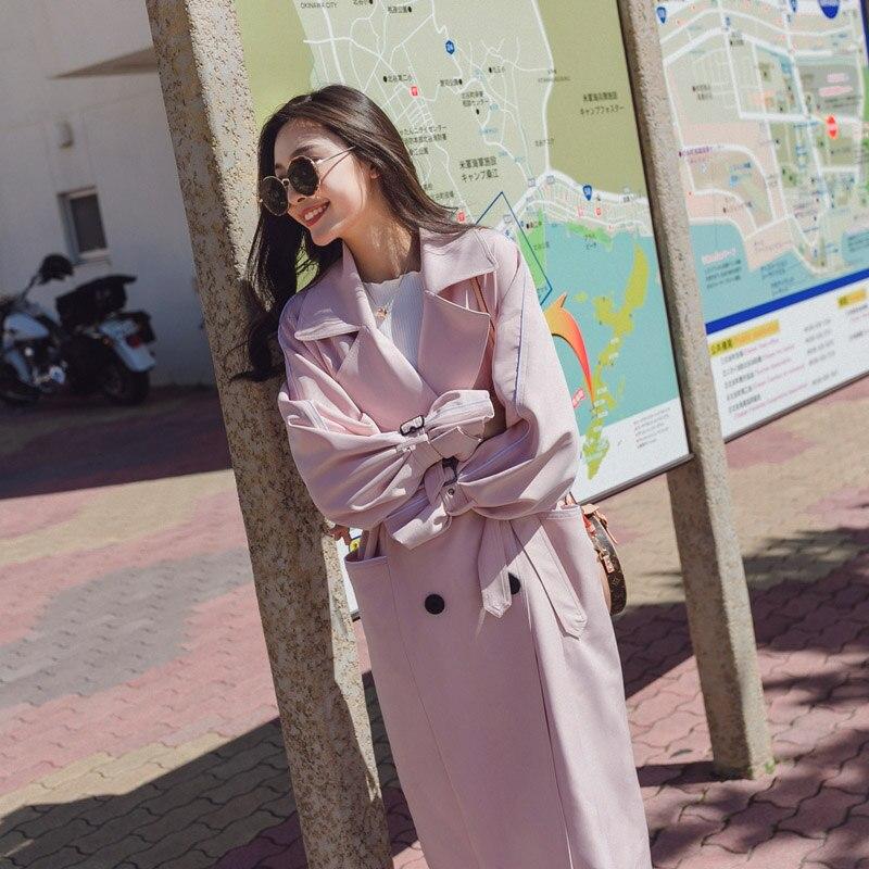Trench vent Nouvelle Féminin Boutonnage blue Double black Femmes Version Manteau Tranchée Long Pink Coréenne Pour Printemps Mode Coupe À Coat Automne 0OPn8kwX