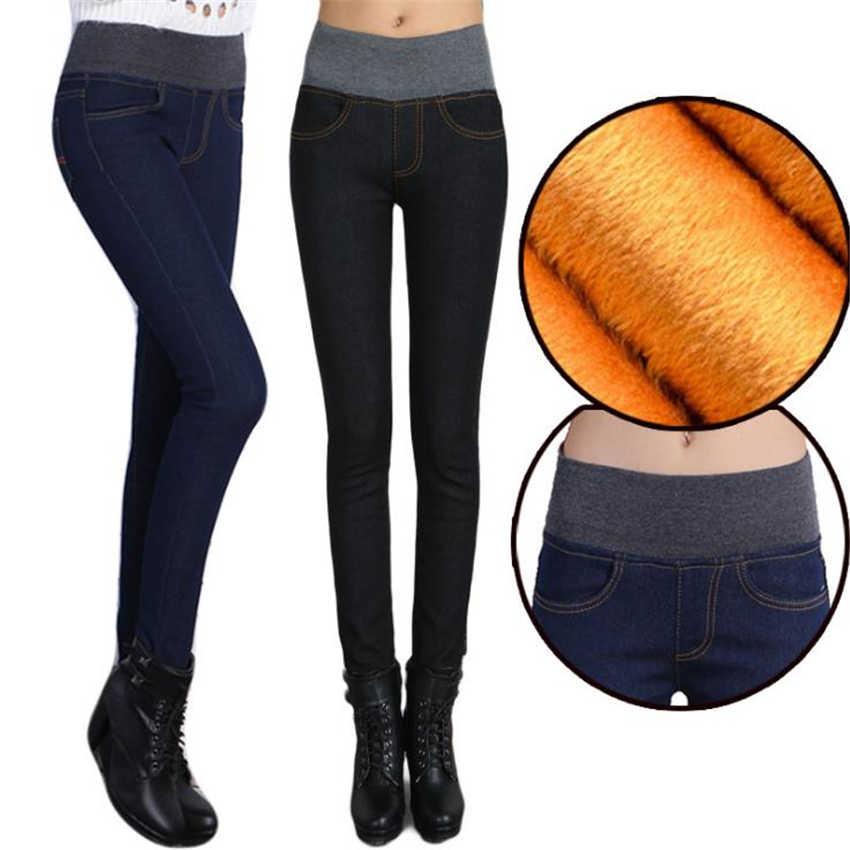 2018 зимние теплые джинсы для женщин плотные брюки женские эластичные модные с высокой талией женские джинсы из денима обтягивающие джинсы