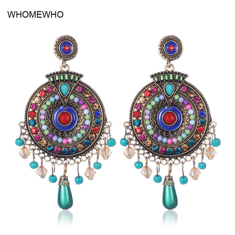 949dc5e8eb40b Vintage Boho Statement Seed Beads Indian Drop Earrings Ethnic Antique Gold  Epoxy Enamel Jewelry Birdal Wedding Party Accessories