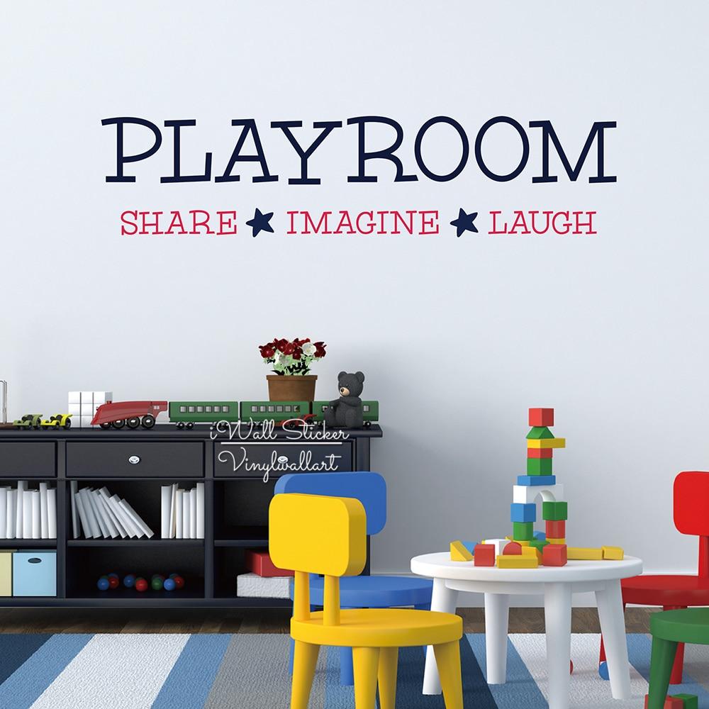 놀이방 공유 상상 웃음 인용 벽 스티커 아이 견적 벽 데칼 DIY 어린이 방 벽 레터링 인용 컷 비닐 Q233