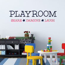 Playroom Share Imagine Laugh Quotes Wall Sticker Kids Quote Decals DIY Children Room Lettering Cut Vinyl Q233