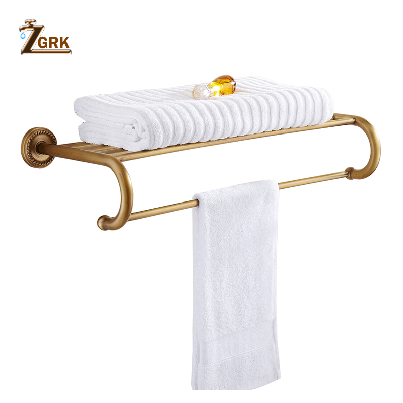 ZGRK Foldable Antique Brass Bath Towel Rack Active Bathroom Towel Holder Double Towel Shelf Bathroom Accessories 96031-MH aluminum foldable antique brass bath towel rack active bathroom towel holder double towel shelf with hooks bathroom accessories
