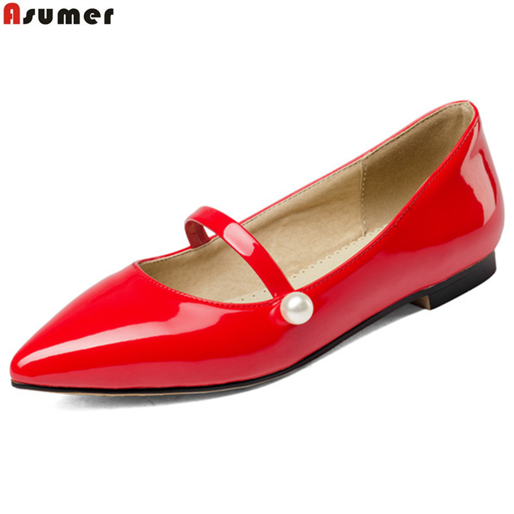 Asumer black red fashion spring autumn new women shoes pointed toe ladies flats shoes casual single shoes big size 34-43 hot sale 2016 new fashion spring women flats black shoes ladies pointed toe slip on flat women s shoes size 33 43