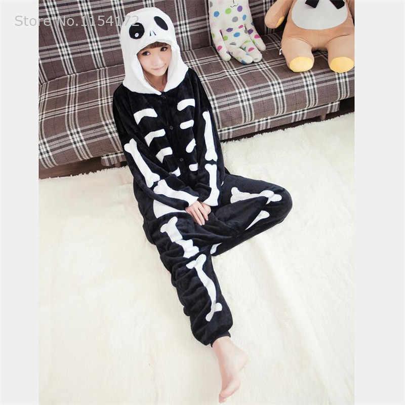 Скелет аниме Комбинезоны для взрослых пижамы мультфильм животных Косплей Костюм пижамы комбинезоны для взрослых пижамы Хэллоуин кигуруми