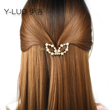 Women headwear  cute hair clip for girls pearl pin fashion grip bow accessories women