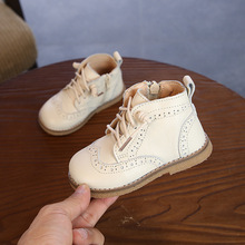 Botas de otoño e invierno para niños y niñas, zapatos, botines de piel auténtica, cálidas de felpa