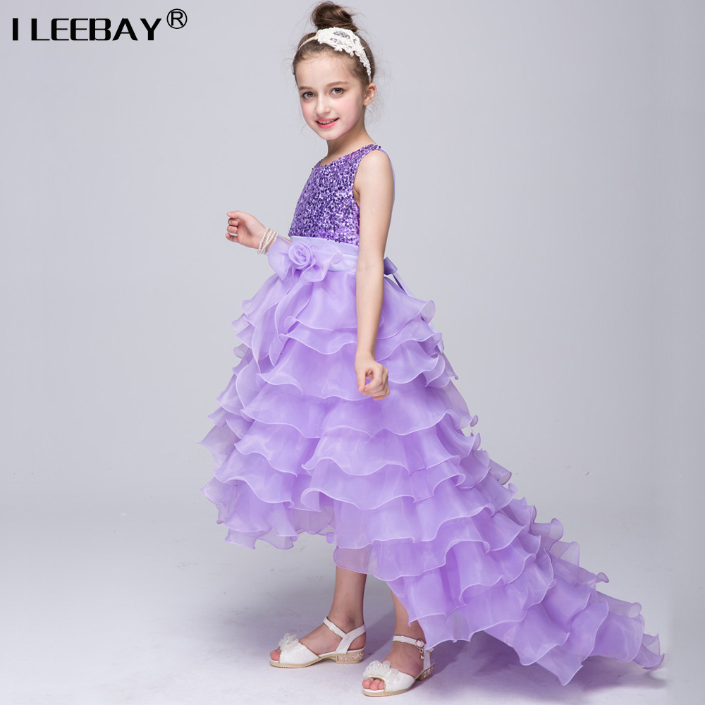 Buy Cheap Baby Girl Cake Dress Children Sequined Princess Dress Long Tail Kids Girls Wedding Clothes With bow Teenagers Birthday Costume